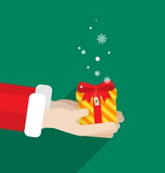 Santa claus two hand give gift merry christmas vector