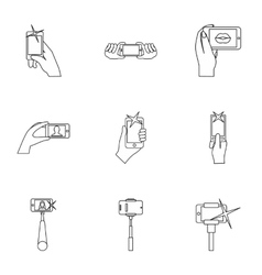 Shooting on cell phone icons set outline style vector