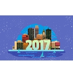 Happy New Year in town greeting card vector image