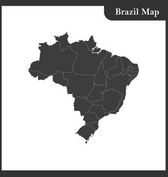 The detailed map of the brazil with regions vector