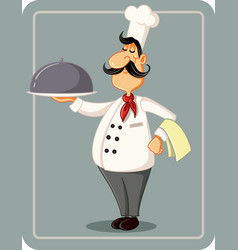 cartoon chef holding a silver platter illus vector image
