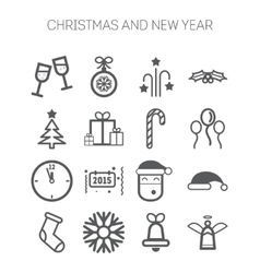 Set of simple icons for new year and christmas vector