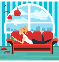 Beautiful young woman reading book on sofa vector