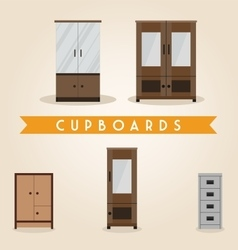 Furniture set cupboards vector