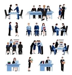 Human resources concept flat icons set vector