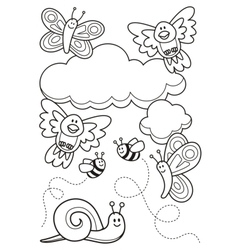 Baby animals coloring book vector