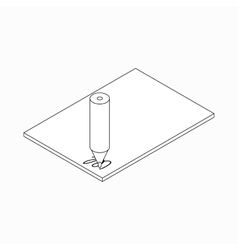 Pencil and paper icon isometric 3d style vector image