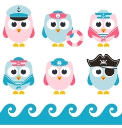 Set of sailor owls vector