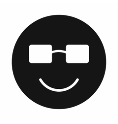 Smiling emoticon in sunglasses icon simple style vector