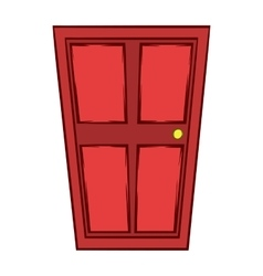 Red wooden door icon cartoon style vector image