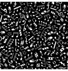 Black and white musical notation seamless pattern vector image