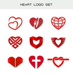 Heart logo set red heart symbols heart icon for vector