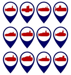 Badges with submarines vector