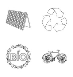 Bio label eco bike solar panel recycling sign vector