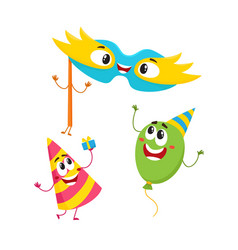 Birthday item characters - hat balloon mask - vector