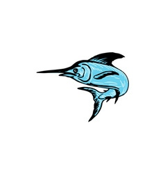 Blue Marlin Fish Jumping Drawing vector image