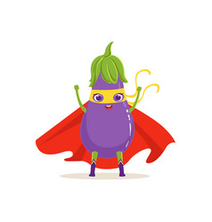 cartoon character of superhero eggplant with hands vector image vector image