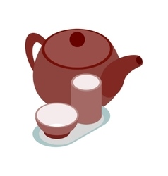 Chinese brown teapot and teacups icon vector image