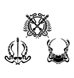 Coats of arms with heraldic elements vector image