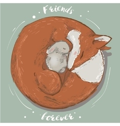 cute hare and fox vector image