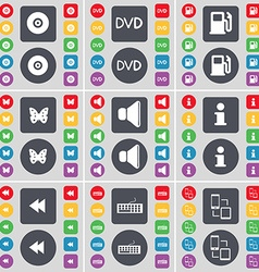 Disk dvd gas station butterfly sound information vector