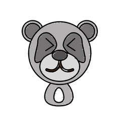 drawing panda face animal vector image