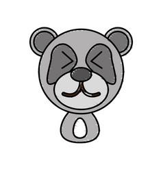 Drawing panda face animal vector
