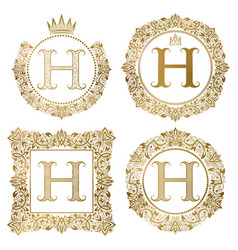 golden letter h vintage monograms set heraldic vector image vector image