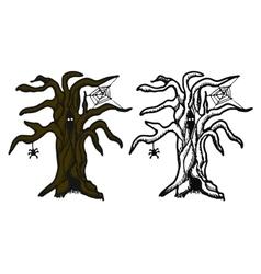 Hand drawn doodle halloween tree black pen vector