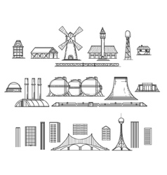 Industry hand drawn items vector image