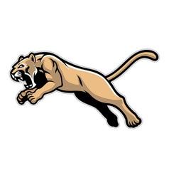 Jumping cougar mascot vector