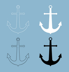 Marine anchor the black and white color icon vector
