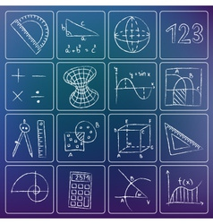 Math icons chalky doodles vector