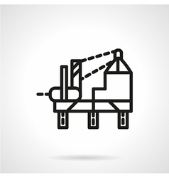 Oil platform simple line icon vector image