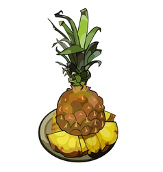 pineapple sliced on a platter vector image vector image