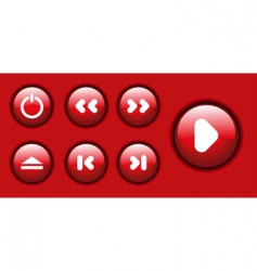 red glossy icon set vector image