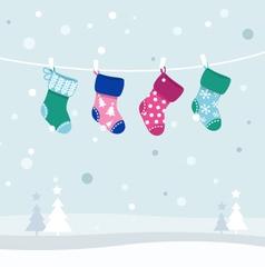 Retro christmas stockings vector
