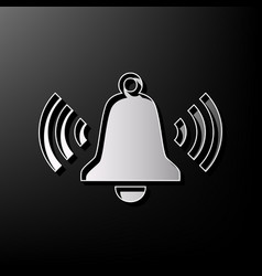 Ringing bell icon gray 3d printed icon on vector
