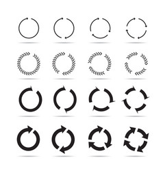 set of black circle arrows signs vector image vector image