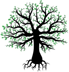 silhouette of a tree with green leaves vector image