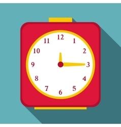 Square alarm clock icon flat style vector