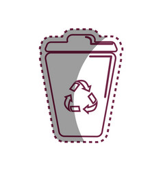 Sticker can trash with reuse reduce and recycle vector