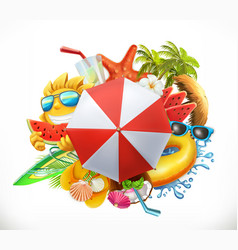 Summer beach set 3d icon vector