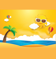 summer time banner design sun with hot air vector image vector image
