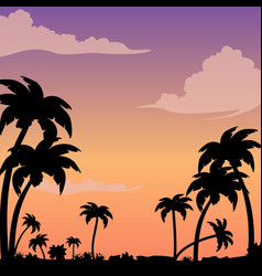 Sunset on a tropical island against a silhouette vector