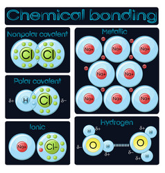 types of chemical bonding vector image