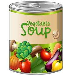 Vegetable soup in aluminum can vector