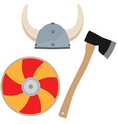 Viking hat shield and axe vector