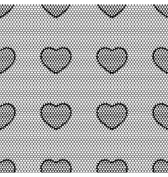 Old lace background seamless pattern with hearts vector image