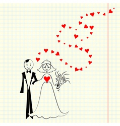 Bride and groom at the school a piece of scrap vector